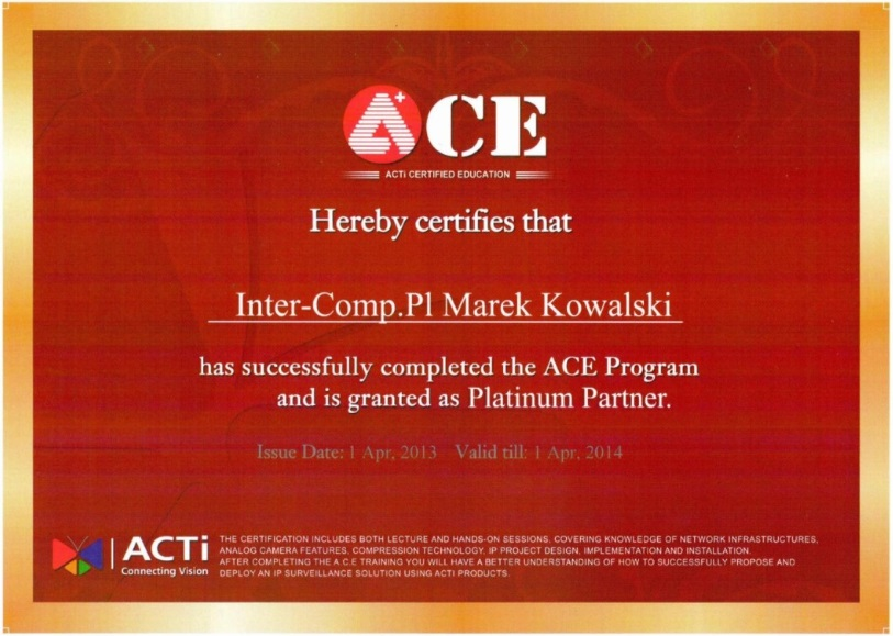 ACTi ACE Program Platiumiun Parnter